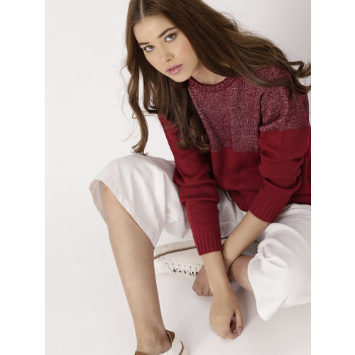 DressBerry Women Maroon & Red Colourblocked Pullover