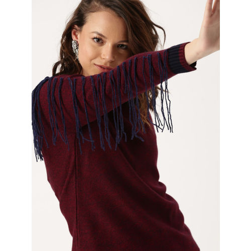 DressBerry Women Maroon Solid Pullover with Fringes