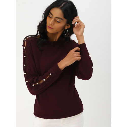 DressBerry Women Burgundy Solid Pullover
