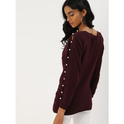 DressBerry Women Burgundy Solid Pullover