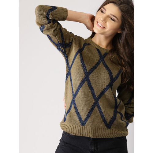 DressBerry Women Olive Green & Navy Blue Self-Design Pullover
