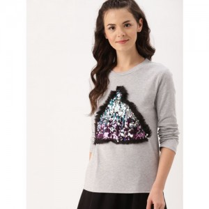 DressBerry Women Grey Sequinned Sweatshirt