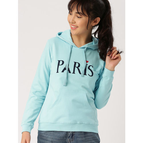 DressBerry Women Blue Printed Hooded Sweatshirt