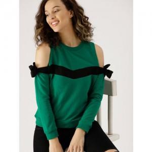 DressBerry Women Green Solid Cold-Shoulder Sweatshirt