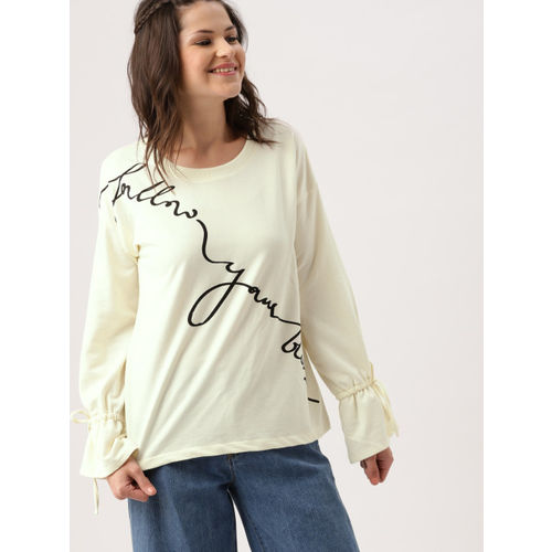 DressBerry Women Off-White Printed Sweatshirt