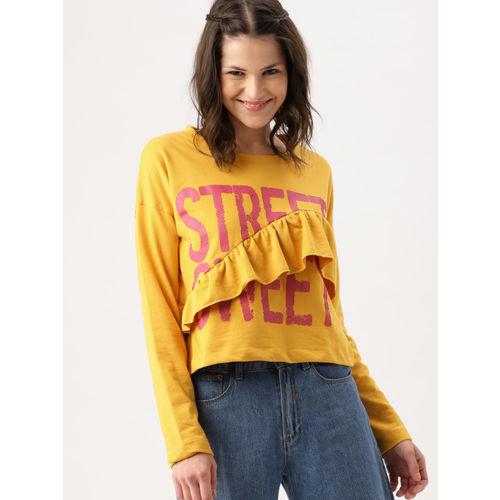 DressBerry Women Mustard Yellow Printed Ruffles Sweatshirt