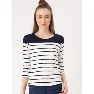 4df1dea07d Buy MANGO Women Navy Blue   White Striped Round Neck T-shirt online ...
