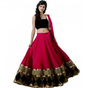Chamunda Enterprise Block Print, Geometric Print Lehenga, Choli and Dupatta Set(Pink, Black)