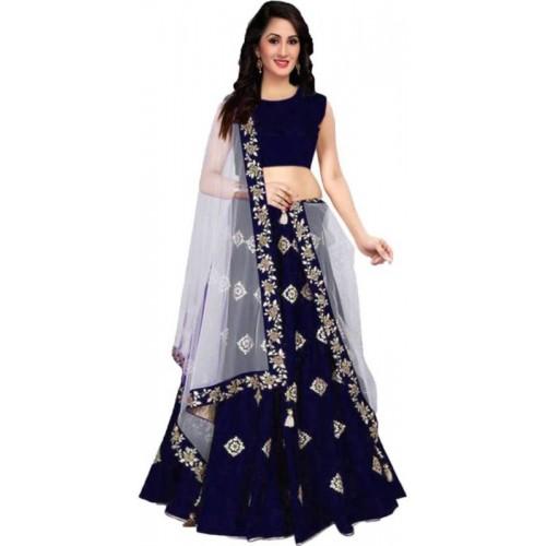 Vrundavan Fashion Navy Blue Embroidered Semi Stitched Lehenga Choli and Dupatta Set