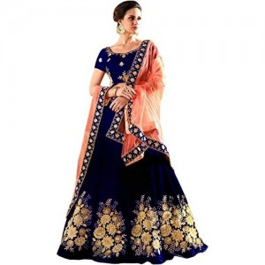 Friends Deal Fashion Navy Blue Taffeta Silk Lehengha Choli