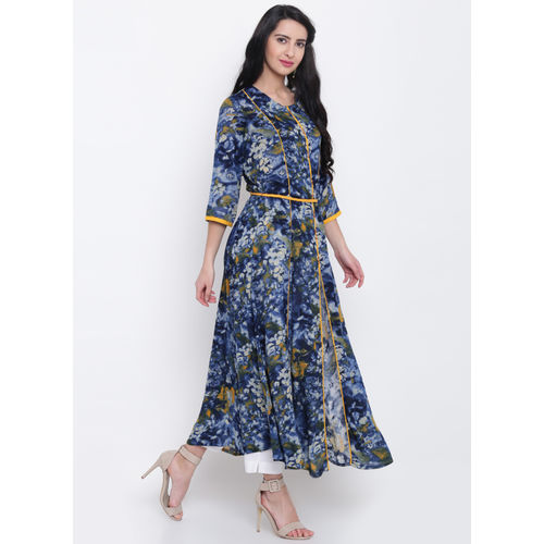 Shree Navy & Yellow Printed A-Line Kurta