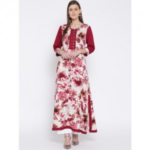 Shree  Maroon & Cream-Coloured Floral Print A-Line Kurta