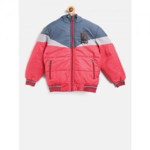 Fort Collins Boys Red & Navy Colourblocked Hooded Bomber Jacket