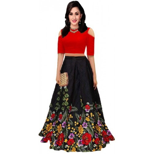 0c3aec52f3d Buy shelvinzas Floral Print Multicolour Semi Stitched Lehenga Choli online