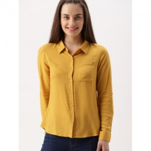 DressBerry Mustard Yellow Rayon Regular Fit Solid Casual Shirt