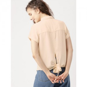 DressBerry Women Peach-Coloured Solid Regular Fit Casual Shirt