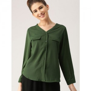 DressBerry Women Olive Green Regular Fit Solid Casual Shirt