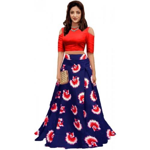 eb6dc11faa1 Buy shelvinzas Dark Blue   Red Printed Semi Stitched Lehenga Choli online
