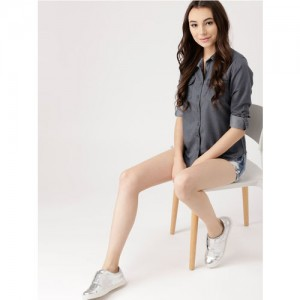 DressBerry Women Grey Regular Fit Chambray Solid Casual Shirt