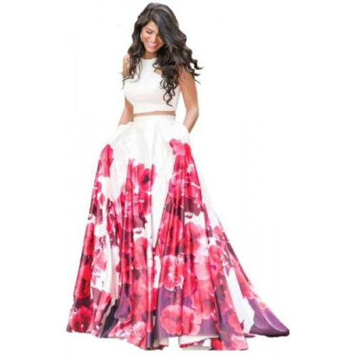 Crezz n world  Pink & White Floral Print Lehenga Choli