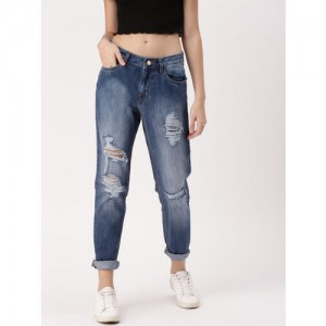 DressBerry Women Blue Boyfriend Fit Mid-Rise Highly Distressed Jeans