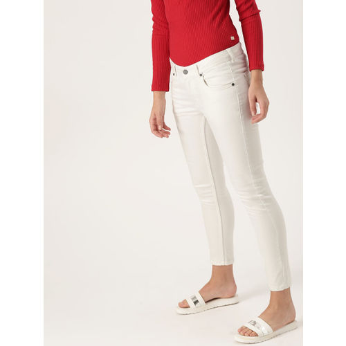 DressBerry Women White Skinny Fit Mid-Rise Clean Look Stretchable Cropped Jeans