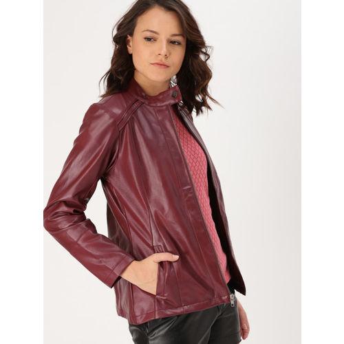 DressBerry Women Burgundy Biker Jacket