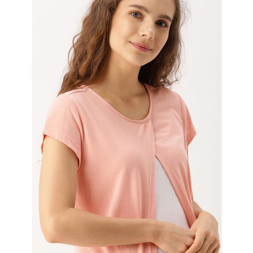 DressBerry Peach-Coloured Solid Open Front Shrug