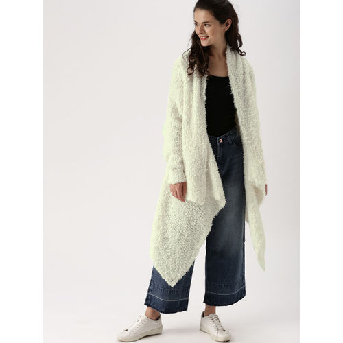 DressBerry Off-White Self Design Open Front Shrug
