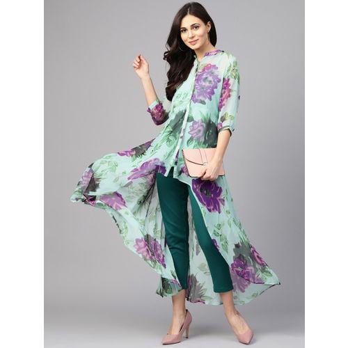 Shree Women Sea Green & Purple Printed A-Line Kurta
