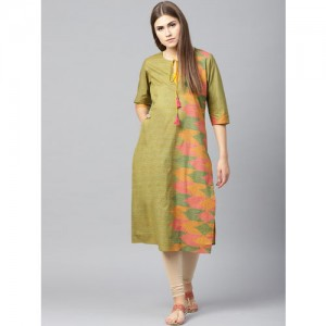 Shree Olive Green and Mustard Yellow Printed Straight Kurta