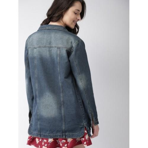 Mast & Harbour Women Navy Blue Cotton Solid Denim Jacket