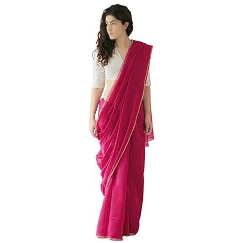 7Rainbow India Women's Pink Plain Cotton Chanderi Saree with Silk Satin Blouse (Pink, Free Size)