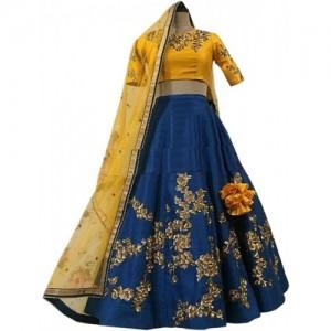 suppar sleave Yellow & Blue Embroidered Semi Stitched Lehenga, Choli and Dupatta Set