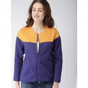 Mast & Harbour Women Blue & Yellow Colourblocked Sweatshirt