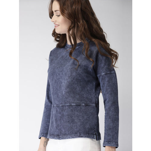 Mast & Harbour Women Blue Solid Pullover