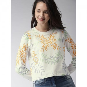 Mast & Harbour Women White Printed Sweatshirt