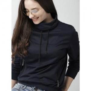 Mast & Harbour Women Navy Blue Solid Sweatshirt