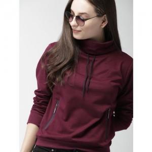 Mast & Harbour Women Burgundy Solid Sweatshirt