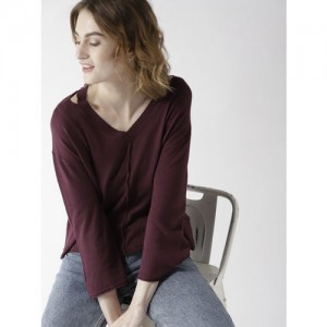 Mast & Harbour Women Aubergine Solid Pullover