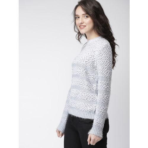 Mast & Harbour Women Grey Self Design Pullover