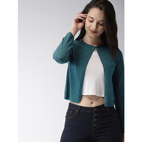 Mast & Harbour Teal Blue Solid Button Shrug