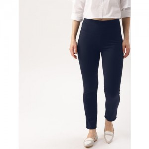 DressBerry Women Navy Blue Solid Treggings