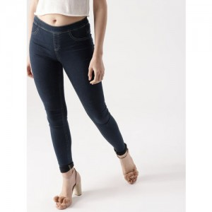 DressBerry Navy Solid Jeggings