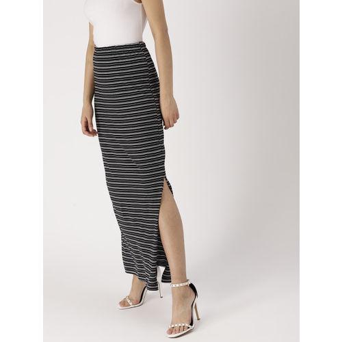 DressBerry Women Black & White Striped Maxi Pencil Skirt
