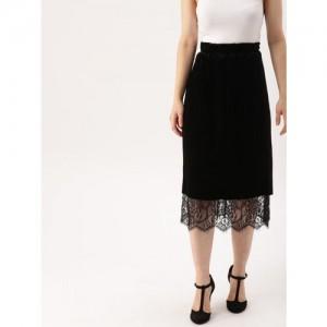 DressBerry Women Black Solid Velvet Lace Skirt