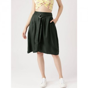 DressBerry Olive Green Solid A-Line Skirt