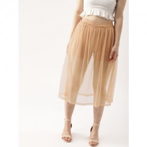 DressBerry Women Peach-Coloured Self Design Flared Midi Sheer Skirt