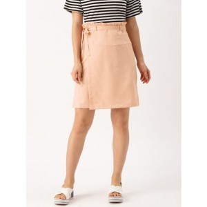 DressBerry Women Peach Solid Wrap Skirt