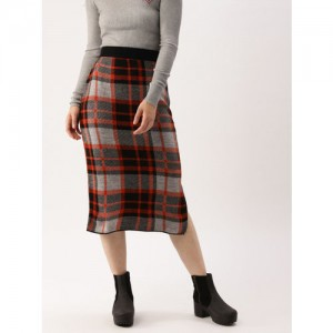 DressBerry Women Grey & Rust Orange Checked A-Line Skirt